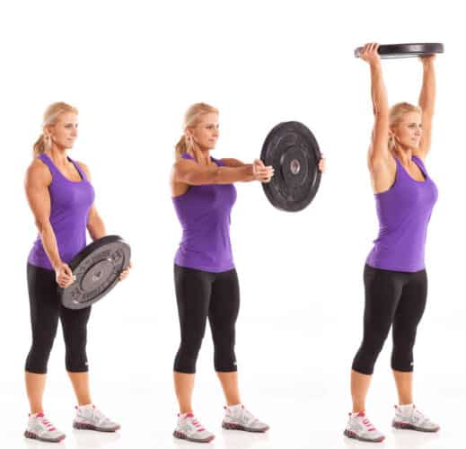 woman exercising shoulders